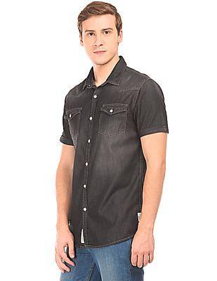 Cherokee Slim Fit Washed Chambray Shirt