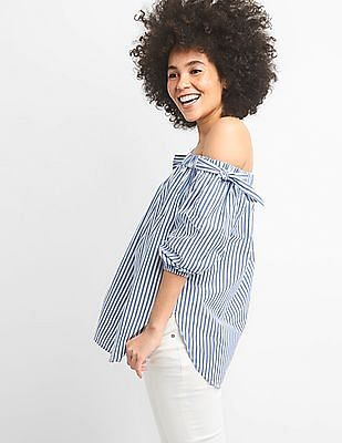 GAP Women Blue Tie Off-Shoulder Tunic In Poplin