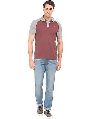 Ruggers Raglan Sleeve Colour Block Polo Shirt