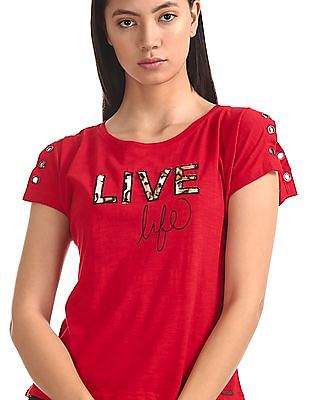 SUGR Red Slit Sleeve Applique Top