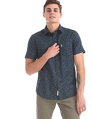 U.S. Polo Assn. Navy and Teal Short Sleeve Allover Print Shirt