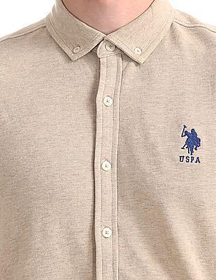 U.S. Polo Assn. Button-Down Collar Pique Knit Shirt