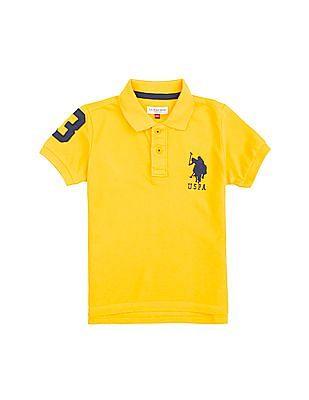 U.S. Polo Assn. Kids Boys Solid Piqued Cotton Polo Shirt