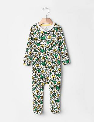 GAP Baby Yellow Mr. Men™ Little Miss™ Flower Power Footed One-Piece