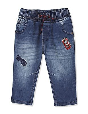 Donuts Boys Drawstring Waist Applique Patch Jeans