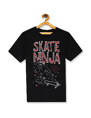 The Children's Place Black Boys Skate Ninja Graphic Crew Neck T-Shirt