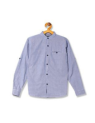 Cherokee Boys Mandarin Collar Patterned Weave Shirt
