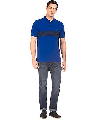 Nautica Striped Pique Polo Shirt