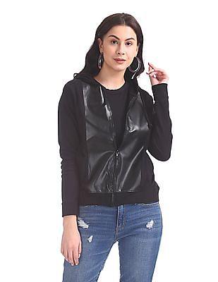 Elle Studio Hooded Zip Up Jacket