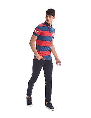 U.S. Polo Assn. Denim Co. Red And Navy Button Down Collar Striped Polo Shirt