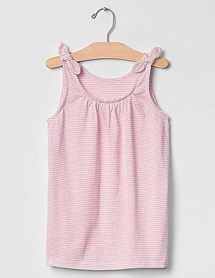 GAP Girls Pink Print Bow Shirred Tank