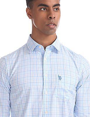 U.S. Polo Assn. Blue Tailored Regular Fit Check Shirt