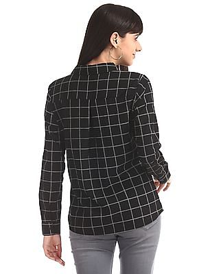 Elle Studio Black Barrel Cuff Check Shirt
