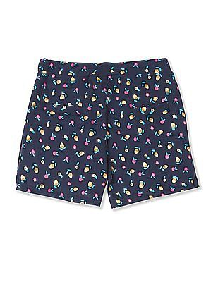 Donuts Girls Floral Print Jersey Shorts