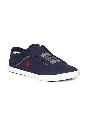 U.S. Polo Assn. Blue Chevron Pattern Canvas Slip On Sneakers