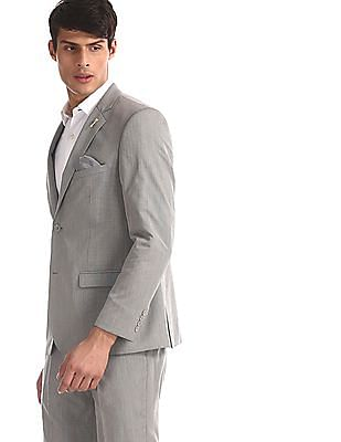 Arrow Grey Body Tailored Regular Fit Patterned Suit