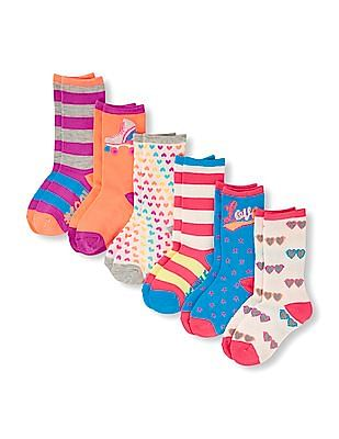 The Children's Place Girls Assorted Neon Love Mix Print Crew Sock 6-Pack