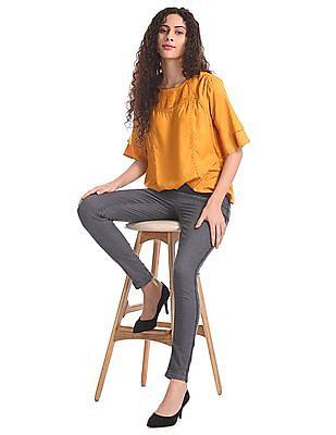 Cherokee Yellow Layered Tuck Top