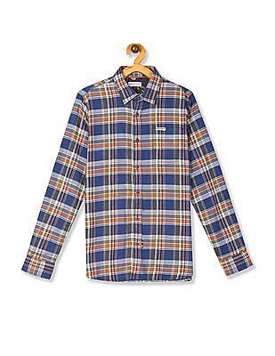 U.S. Polo Assn. Kids Multi Colour Boys Spread Collar Check Shirt