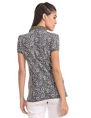 U.S. Polo Assn. Women Floral Print Pique Polo Shirt