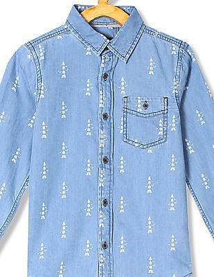Cherokee Boys Printed Chambray Shirt