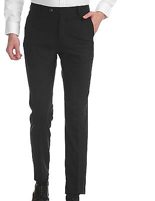 Arrow Blue Tapered Fit Solid Trousers