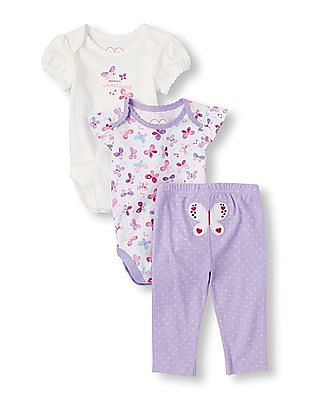 The Children's Place Baby Girls Short Sleeve Butterfly Bodysuits And Dot Print Pants Playset
