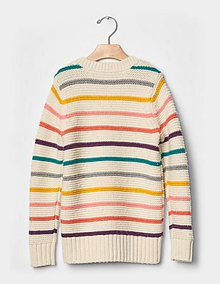 GAP Girls White Multi-stripe sweater