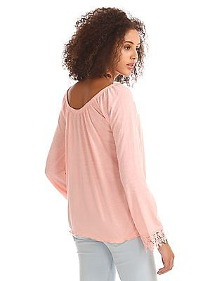 Aeropostale Lace Trim Peasant Top
