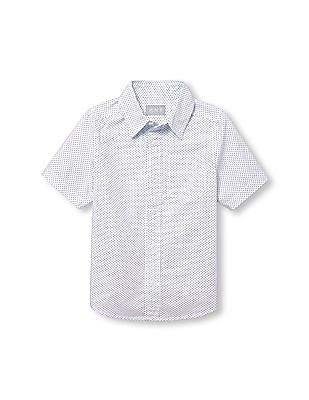 The Children's Place Boys Short Sleeve Dot Print Poplin Button Down Shirt