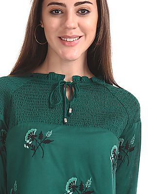 Cherokee Tie Up Neck Embroidered Top