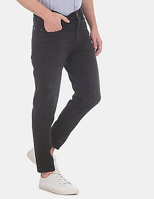 Flying Machine Men Black Mankle Slim Fit Dark Wash Jeans