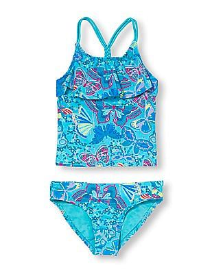 The Children's Place Girls Butterfly Paisley Print Tankini Swimsuit