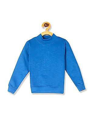 Cherokee Blue Boys High Neck Slub Knit Sweatshirt