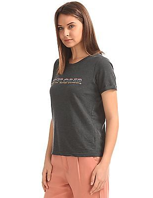 SUGR Embroidered Front Round Neck T-Shirt