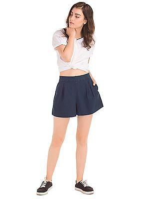 GAP Women Blue Pleated Indigo Shorts