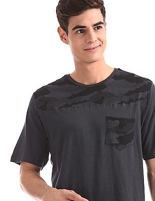 Cherokee Blue Camo Print Panel Slub T-Shirt