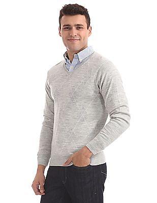 Arrow Long Sleeve Patterned Sweater