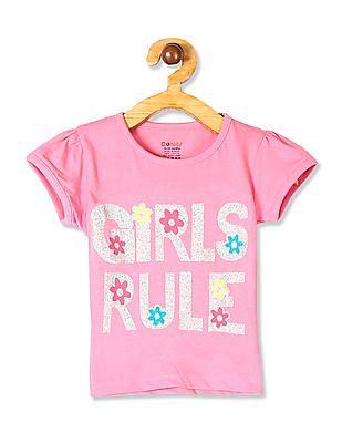 Donuts Pink Girls Glittery Text Cotton T-Shirt