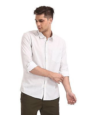 Ruggers White Mitered Cuff Printed Shirt
