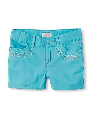 The Children's Place Girls Rhinestone Pocket Woven Shorts