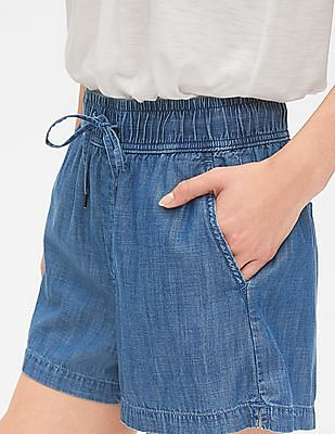"GAP Women Blue 3.5"" Drawstring Shorts in Tencel™"