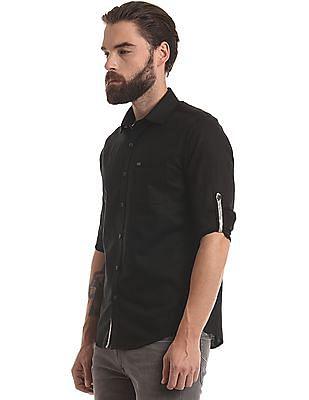 True Blue Slim Fit Cotton Linen Blend Shirt