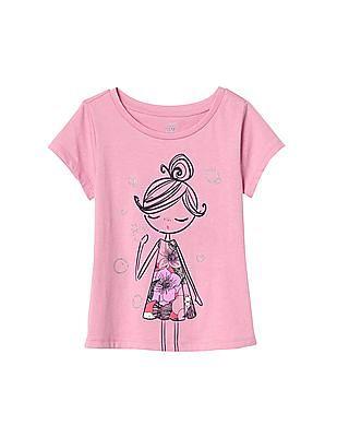 GAP Baby Pink Boardwalk Graphic Short Sleeve Tee