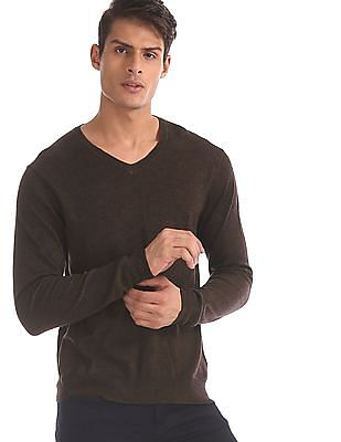Arrow Brown V-Neck Solid Sweater