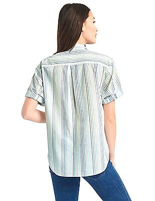 GAP Women White Striped Short Sleeve Shirt