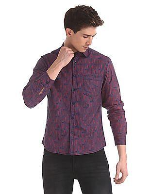 Cherokee Red Cutaway Collar Printed Shirt