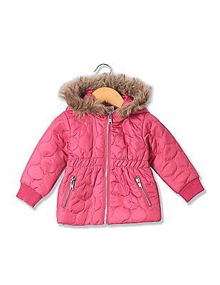 Donuts Girls Faux Fur Hooded Jacket