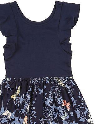 GAP Girls Blue Mix-Fabric Flutter Dress