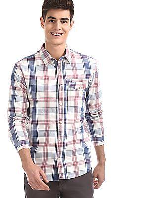 Cherokee White Spread Collar Check Shirt